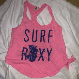 roxy | pink racer back tank top with tie